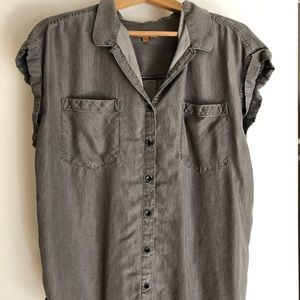 Gray button up blouse
